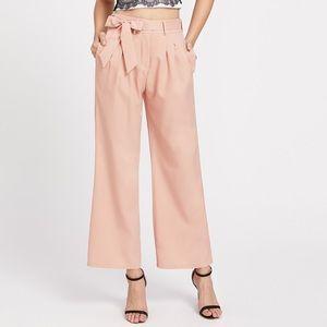 Peach Tie Waist Wide Leg Pants